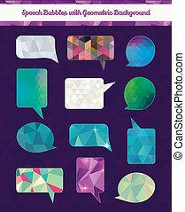 Burbujas de habla con fondo geométrico