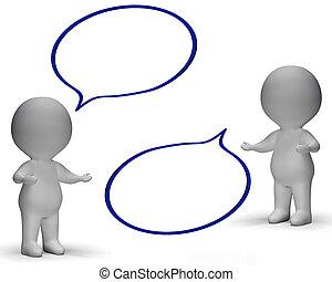 Burbujas de habla y tres personajes muestran discusión y chismes