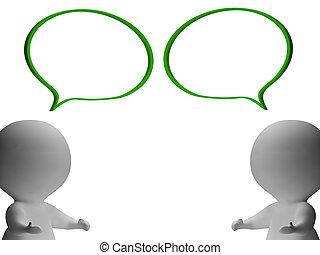 Burbujas de habla y tres personajes que muestran discusión y chismes