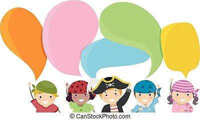 burbujas, discurso, niños, stickman, ilustración, piratas