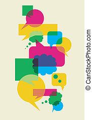 burbujas, interacción, discurso, social