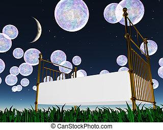 burbujas, soñador, paisaje, cama