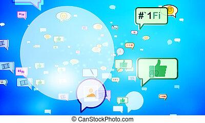 Burbujas sociales alegres en pantalla