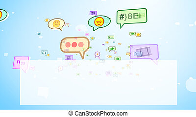 Burbujas sociales graciosas en pantalla