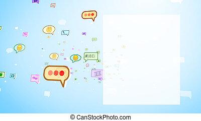 Burbujas sociales infantiles moviéndose en pantalla