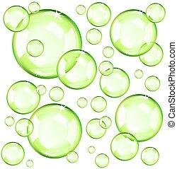 Burbujas verdes transparentes