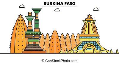 Burkina Faso plana de vuelo fijo. Burkina Faso, vector de la ciudad negra ilustración, símbolo, puntos de viaje, puntos de referencia.