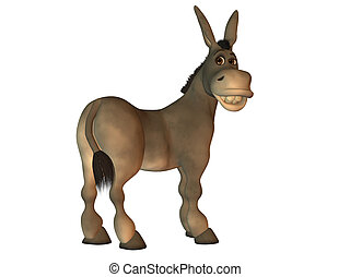 burro, blanco, aislado, caricatura, sonriente