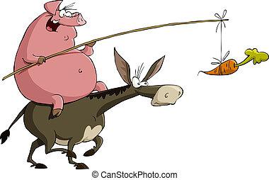 burro, cerdo