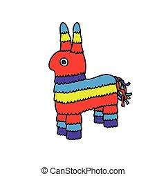 burro, pinata, garabato, iocn, vector, juguete, color, ilustración, mexicano