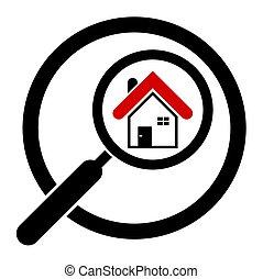Busca el icono de la casa en un círculo. Bienes raíces. Magnifier. Aislado