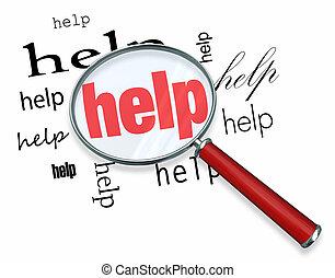 Buscando ayuda, lupa