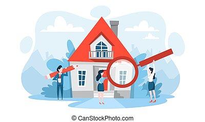 Buscar propiedades con lupa. Idea de bienes raíces