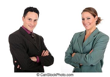 businesspeople, sonriente