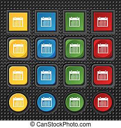 button., buttons., conjunto, días, mes, vector, icon., fecha, colur, señal, calendario, símbolo.