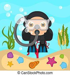Buzo buceador en el mar