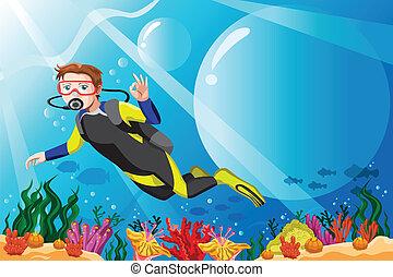 Buzo de buceo en el océano