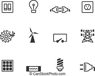 bw, iconos, -, electricidad