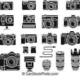 Cámara de iconos negros. Ilustración de vectores.