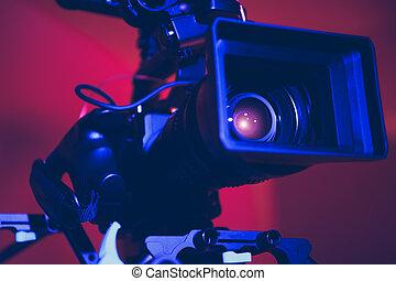 cámara, moderno, cierre, digital, cine, arriba