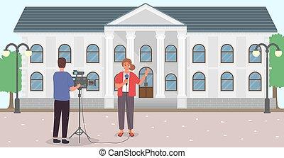 cámara, periodistas, macho, hembra, reportero