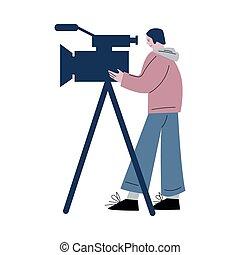 cámara, producción, cine, cámara, durante, trípode, trabajando, joven