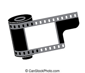 cámara, rollo, vector, película, ilustración