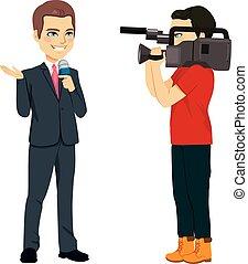 Cámara y reportero
