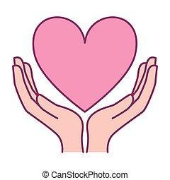 cáncer, caridad, manos, icono, corazón