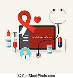 Cáncer de cabeza y cuello. Enfermedad médica de la cinta roja