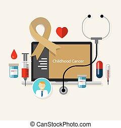 Cáncer infantil niños niños niños con cintas médicas de oro tratamiento de salud