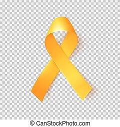cáncer, símbolo, mundo, february., realista, 15, niñez, oro, ribbon.