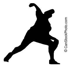 cántaro, deporte, -, beisball, silueta