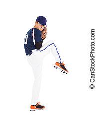 cántaro, pelota, listo, lanzamiento, jugador béisbol, postura