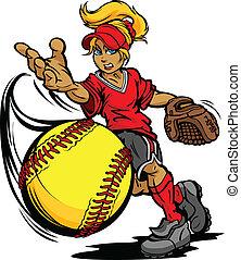 cántaro, pelota, torneo, sofbol, rápido, arte, ilustración, fastpitch, tono, vector, caricatura, pp de throw