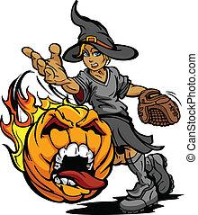 cántaro, torneo, sofbol, halloween, rápido, llevando, arte, estridente, tono, disfraz, cara, calabaza, bruja, pp de throw, llameante