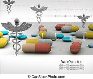 Cápsula con símbolo de la medicina