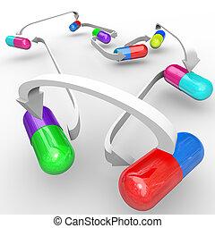 Cápsulas de interacción médica y pastillas conectadas