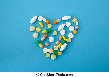 cápsulas, forma, corazón, píldoras, colorido