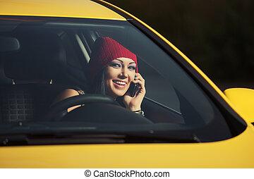 célula, coche, vocación, conducción, mujer joven, teléfono, moda