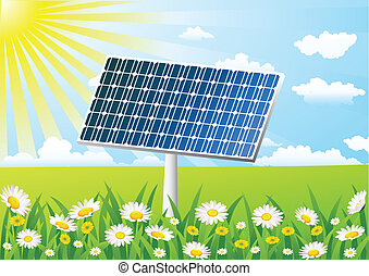 Célula solar en el campo de hierbas