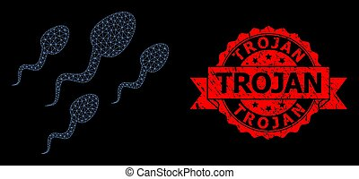 células, grunge, trojan, polygonal, estampilla, esperma, red, sello