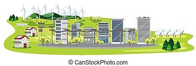 células, muchos, escena, solar, edificios