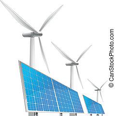 Células solares y generador de viento