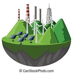 Células solares y turbinas en las montañas