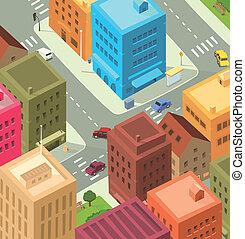 céntrico, ciudad, -, caricatura