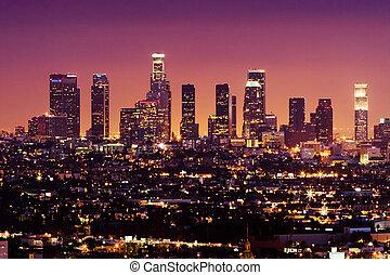 céntrico, estados unidos de américa, angeles, los, contorno, noche, california