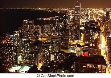 céntrico, estados unidos de américa, chicago, /, alto, sobre, noche, vista
