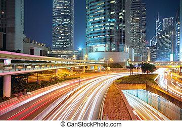 céntrico, noche, tráfico, área