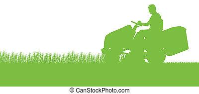 césped, resumen, ilustración, cortacéspedes, campo, corte, tractor, plano de fondo, pasto o césped, paisaje, hombre